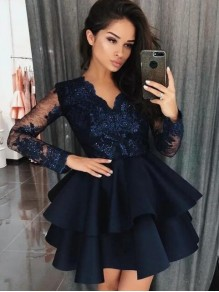 Long Sleeves Lace Short Prom Dress Homecoming Dresses Graduation Party Dresses 99701011