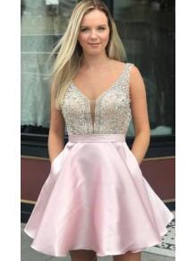 Short Pink Beaded Prom Dress Homecoming Dresses Graduation Party Dresses 99701015