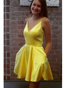 Short Yellow Prom Dress Homecoming Dresses Graduation Party Dresses 99701054