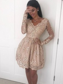 Short Prom Dress Long Sleeves Lace Homecoming Dresses Graduation Party Dresses 99701070