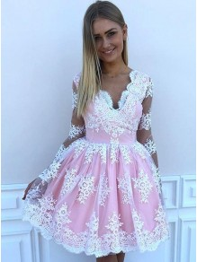Short Prom Dress Long Sleeves Lace Homecoming Dresses Graduation Party Dresses 99701075