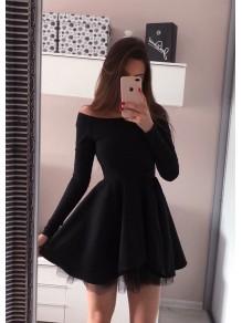 Short Black Prom Dress Long Sleeves Homecoming Dresses Graduation Party Dresses 99701084