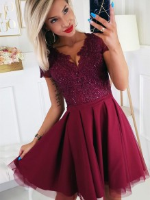 Short Beaded Lace Prom Dress Homecoming Graduation Cocktail Dresses 99701136