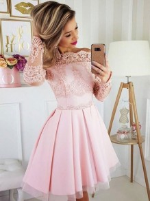 Short Prom Dress Long Sleeves Lace Homecoming Graduation Cocktail Dresses 99701143