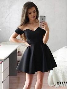 Short Black Satin Prom Dress Homecoming Graduation Cocktail Dresses 99701145