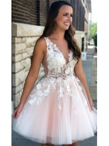 A-Line Lace Short Prom Dress Homecoming Graduation Cocktail Dresses 99701167