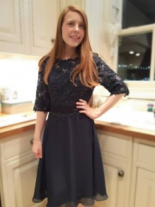 Short Black Beaded Lace Prom Dress Homecoming Graduation Cocktail Dresses 99701192