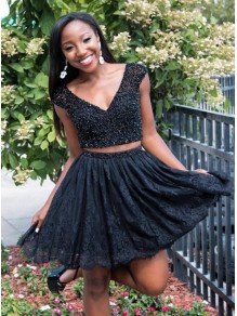 Short Black Lace Prom Dress Homecoming Graduation Cocktail Dresses 99701206