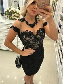 Short Black Lace Prom Dress Homecoming Graduation Cocktail Dresses 99701225