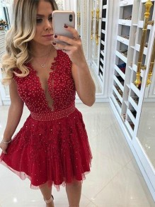 Short Beaded Lace Prom Dress Homecoming Graduation Cocktail Dresses 99701226