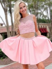 Short Beaded Pink Prom Dress Homecoming Graduation Cocktail Dresses 99701241