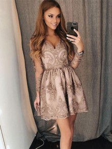 Short Lace Prom Long Sleeves Dress Homecoming Graduation Cocktail Dresses 99701251