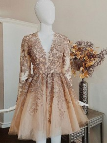 Short Prom Dress Long Sleeves Lace Homecoming Graduation Cocktail Dresses 99701255