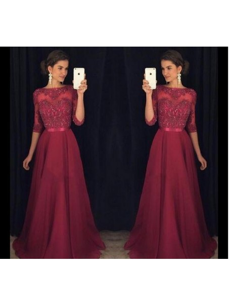 A-Line Lace 3/4 Length Sleeves Mother of the Bride Dresses 99702004