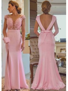 Long Pink Beaded Lace Mermaid Mother of the Bride Dresses 99702008