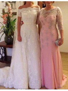 Long Pink Beaded Lace Mermaid Mother of the Bride Dresses 99702009