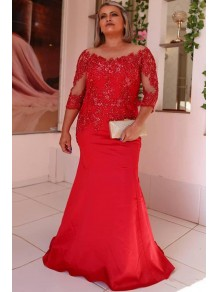 Mermaid Beaded Lace Long Red Mother of the Bride Dresses 99702026