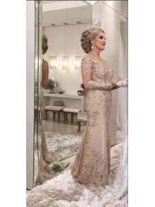Long Sleeves Beaded Lace Mother of the Bride Dresses 99702040