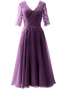 A-Line V-Neck Lace Floor Length Mother of the Bride Dresses 99702047