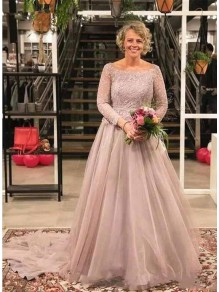 A-Line Lace Tulle Long Mother of the Bride Dresses 99702058