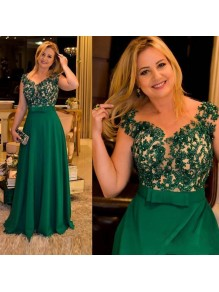 A-Line Beaded Lace Long Green Mother of the Bride Dresses 99702063