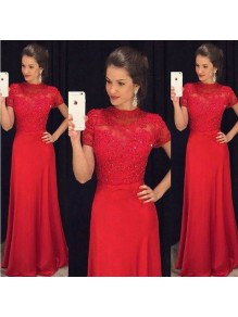 Long Red Beaded Lace Mother of the Bride Dresses 99702072