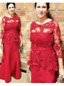 Long Red Mermaid Lace Mother of the Bride Dresses 99702076