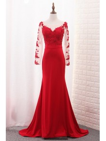 Long Sleeves Lace Mermaid Red Mother of the Bride Dresses 99702089